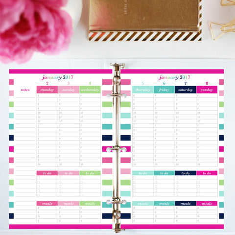 2017 Printable Planner: Half Letter, Hourly, To Do, Meal