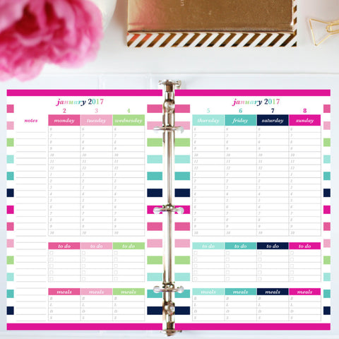 Free Planner Sample: Half Letter, Hourly, To Do, Meal