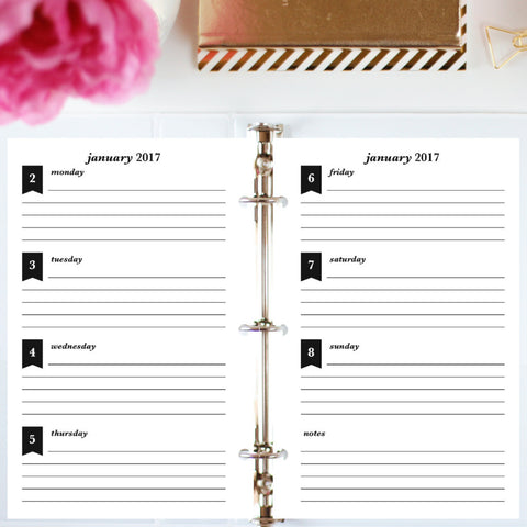 Free Planner Sample: Half Letter, Horizontal Lined