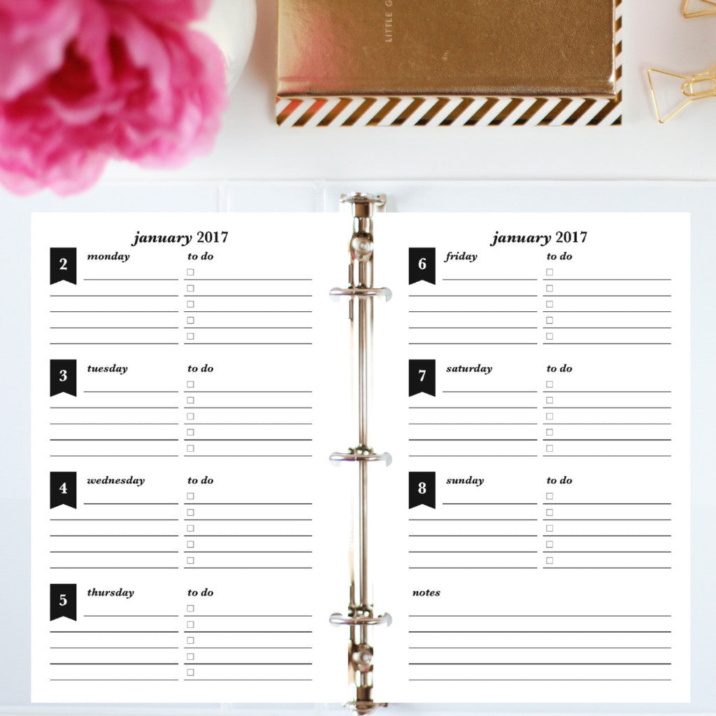 2017 Printable Planner: Half Letter, Horizontal To Do