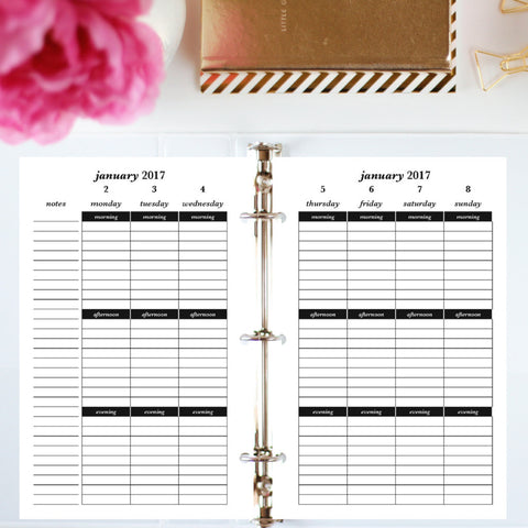 2017 Printable Planner: Half Letter, Morning, Afternoon, Evening - Lined