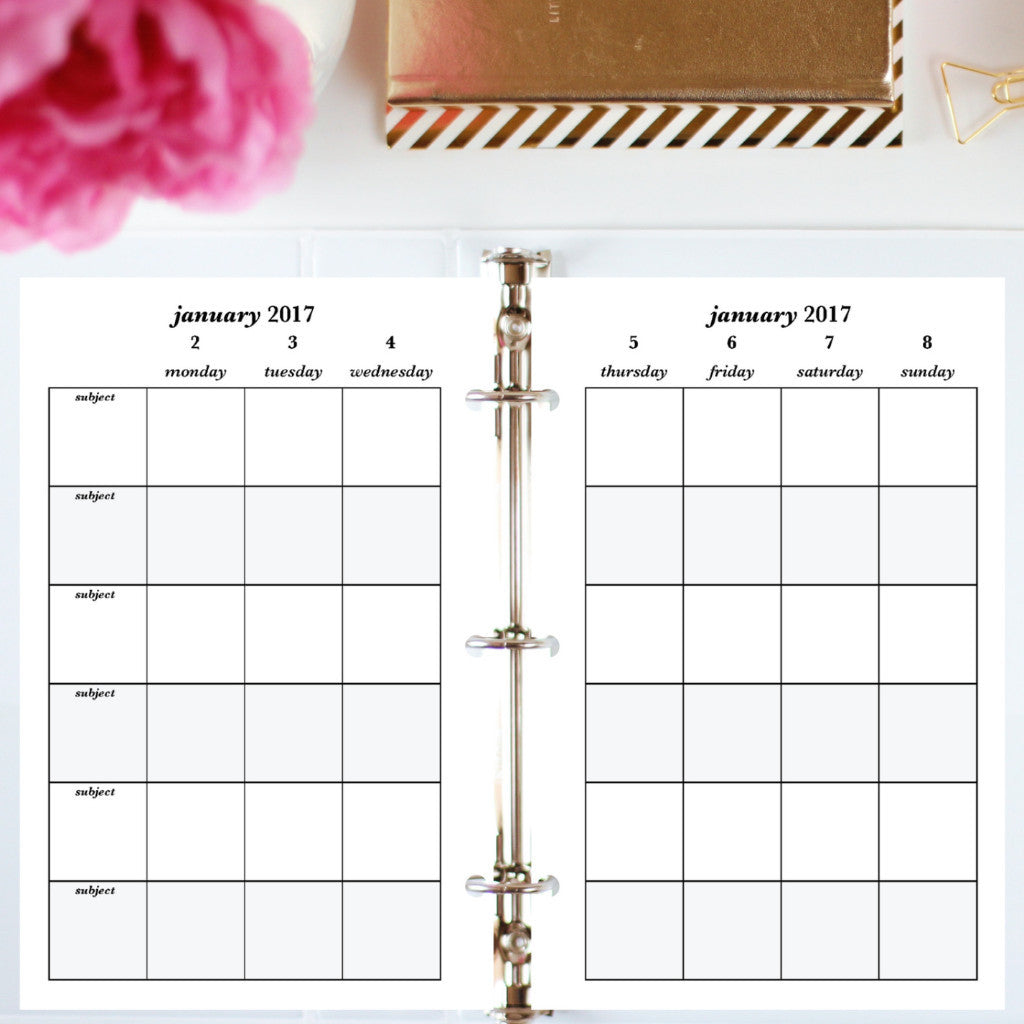 Free Planner Sample: Half Letter, Subjects - Blank