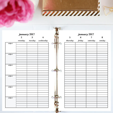Free Planner Sample: Half Letter, Subjects - Lined