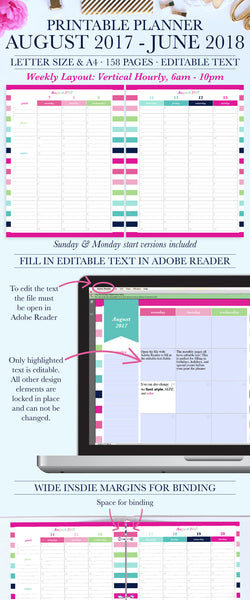 2017-2018 Printable Planner, Back to school planner, Student planner, Teacher planner, Digital Planner