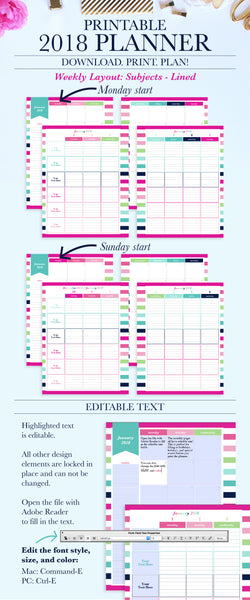 Stay organized with this beautiful and functional January 2018 - December 2018 weekly planner printable! The printable planner can be instantly downloaded and printed at home or a local print shop. Dates are pre-filled for easy planning.
