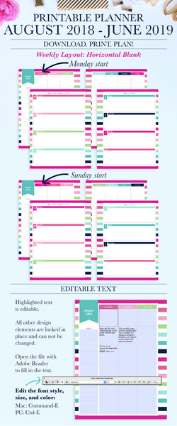2018-2019 Printable Planner: Horizontal Blank, Letter & A4