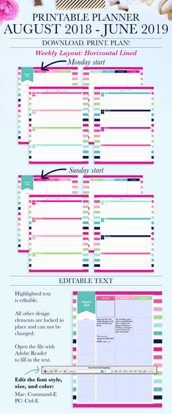 2018-2019 Printable Planner: Horizontal Lined, Letter & A4