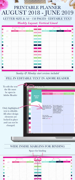 2018-2019 Printable Planner: Vertical Lined, Letter & A4