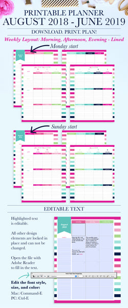 2018-2019 Printable Planner: Morning, Afternoon, Evening - Lined, Letter & A4