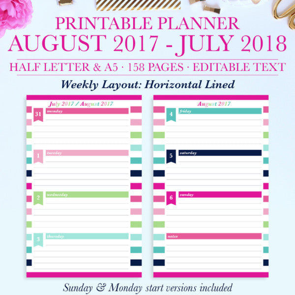 2017-2018 Printable Planner, Back to school planner, Student planner, Teacher planner, Digital Planner, Half Letter, A5