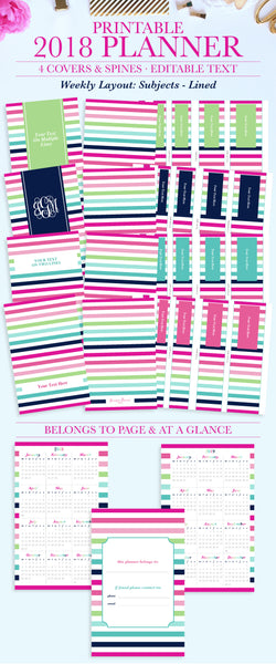 Stay organized with this beautiful and functional January 2018 - December 20188 weekly planner printable! The printable planner can be instantly downloaded and printed at home or a local print shop. Dates are pre-filled for easy planning.
