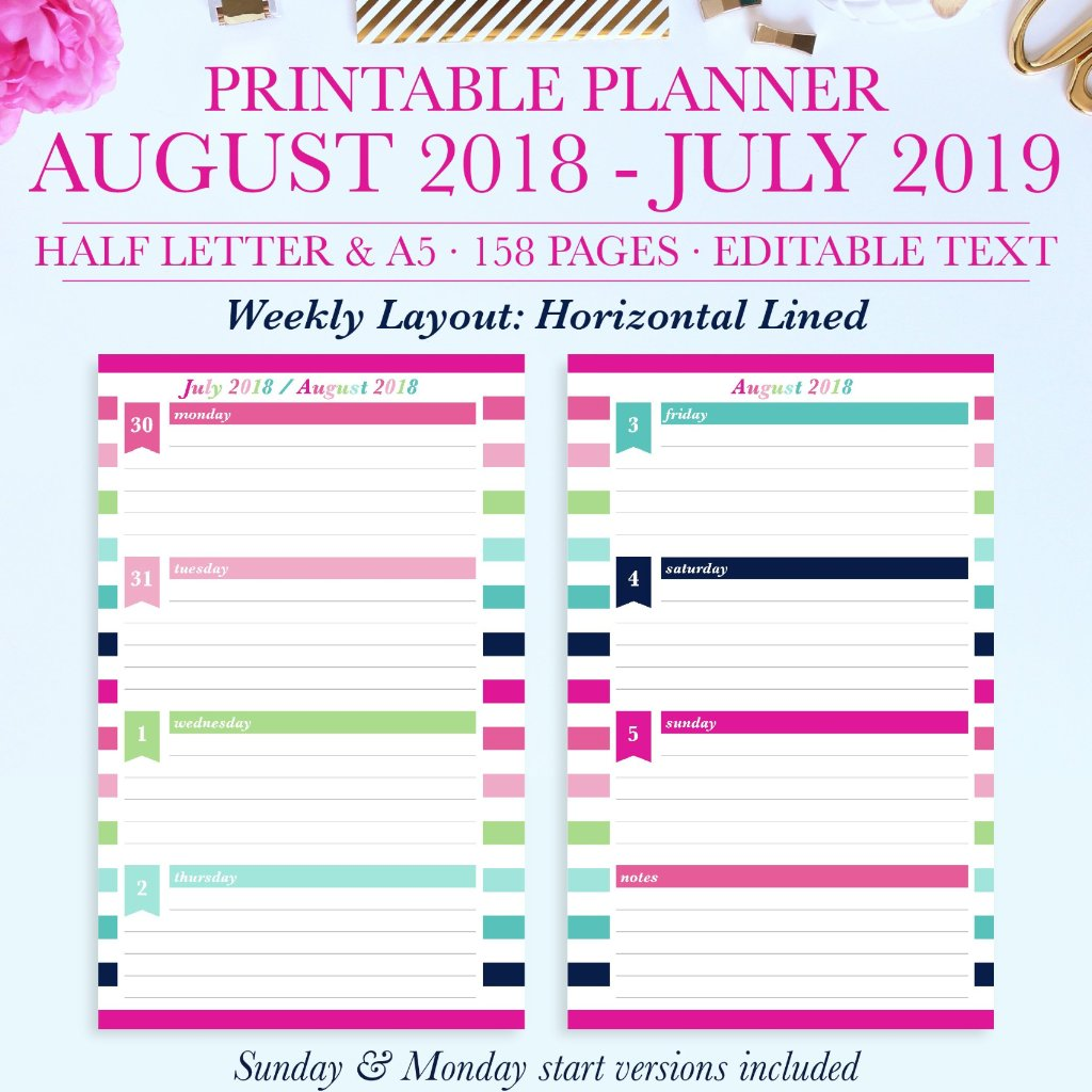 2018-2019 Printable Planner: Horizontal Lined, Half Letter & A5