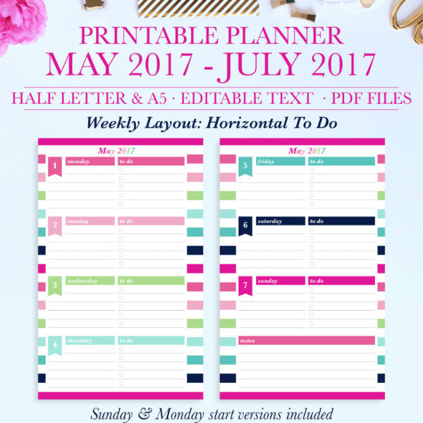 Printable Planner Trial from May 2017-July 2017, Student Planner, Teacher Planner, Half Letter & A5 Size