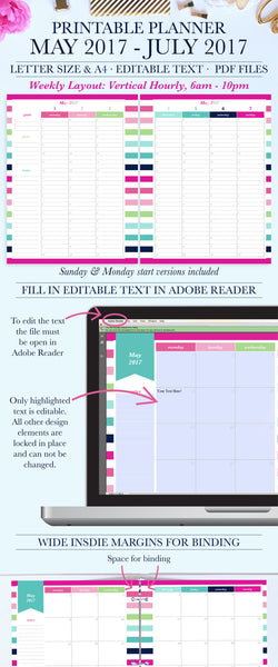 Printable Planner Trial from May 2017-July 2017, Student Planner, Teacher Planner, Letter & A4 Size