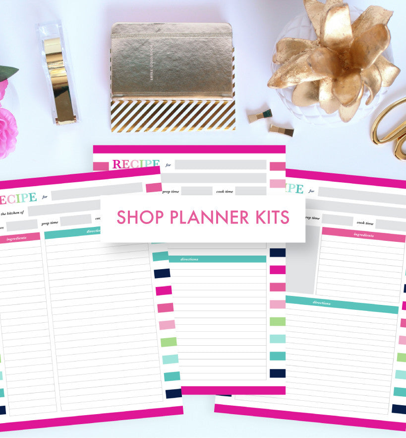Shop Planner Kits including the travel planner and recipe binder kit by Jessica Marie Design