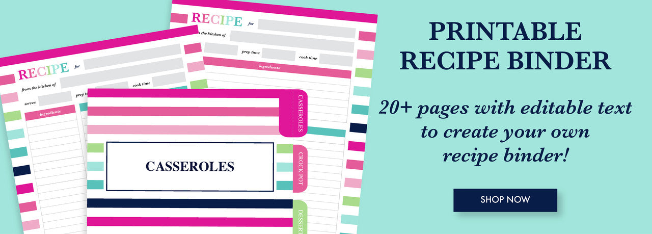 Create your own recipe binder with this printable recipe binder kit!