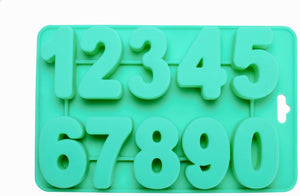 "Numeric SIlicone Backing Molds - REVERSE Large 1.75"" numbers (1/2"" deep)"