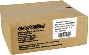 Craytastic! Bulk Crayons, Individual Boxes of 8 Colors/Count Class Pack - Full Size, Premium (Red, Yellow, Green, Blue, Purple, Brown, Black) Safety Tested Compliant with ASTM D-4236