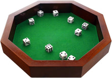 Load image into Gallery viewer, Fun+1 Toys! 11.75-Inch Octagonal Wooden Dice Tray - Dice Included