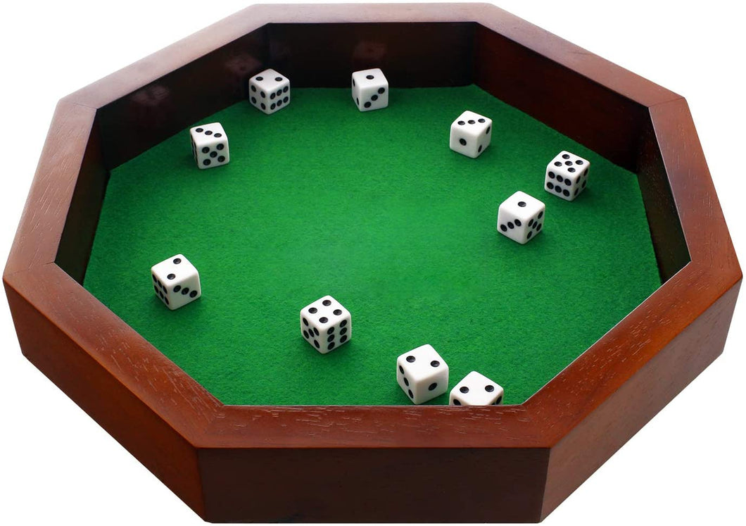 Fun+1 Toys! 11.75-Inch Octagonal Wooden Dice Tray - Dice Included