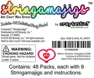 Craytastic! Stringamajigs Art Wax Craft Yarn Sticks for Kids - Bulk Party Set of 48 Packs, 8 Sticks Each Pack
