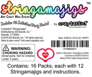 Craytastic! Stringamajigs Art Wax Craft Yarn Sticks for Kids - Bulk Party Set of 16 Packs, 12 Sticks Each Pack