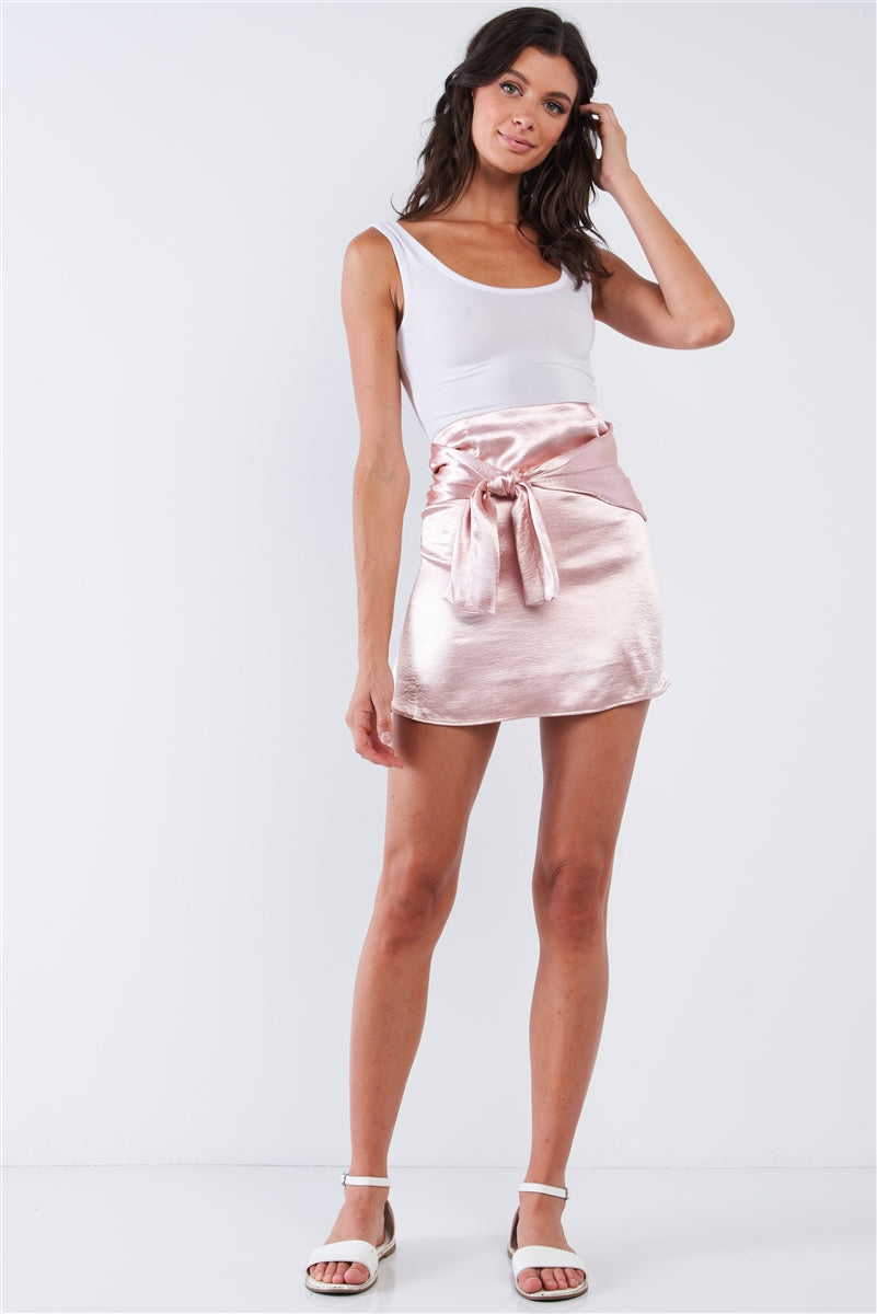 Soft Pink Wrap Tie Skirt