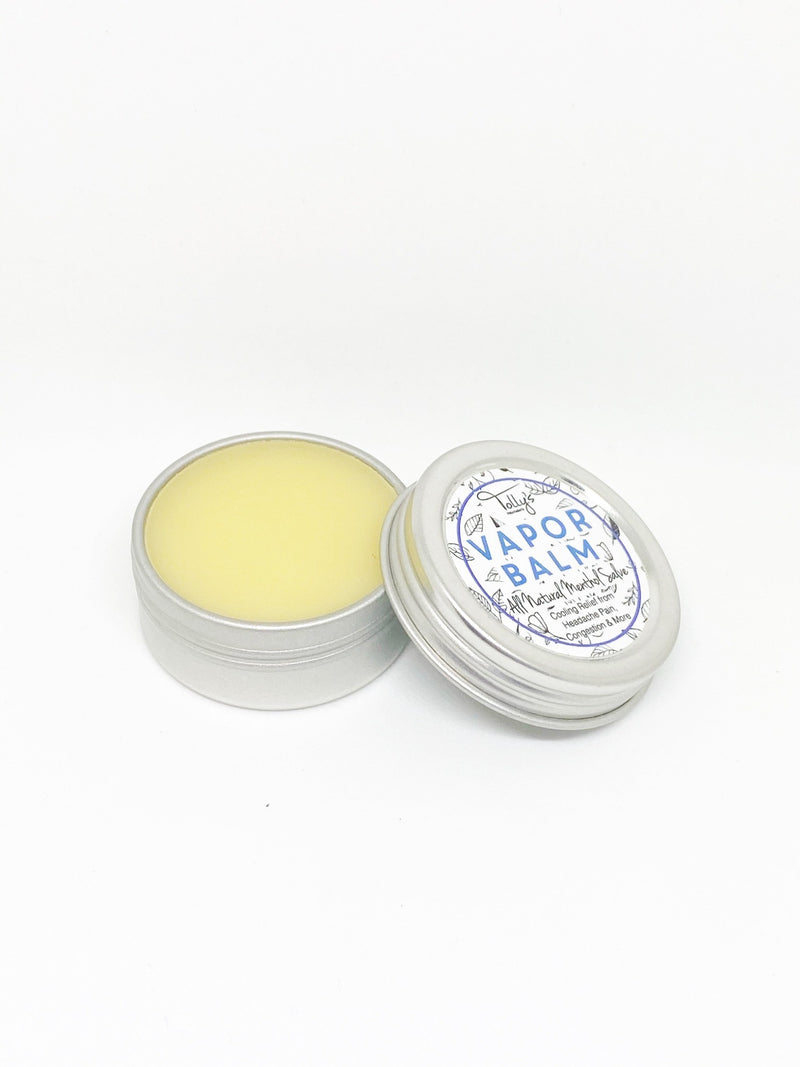 Vapor balm all natural menthol salve, open jar