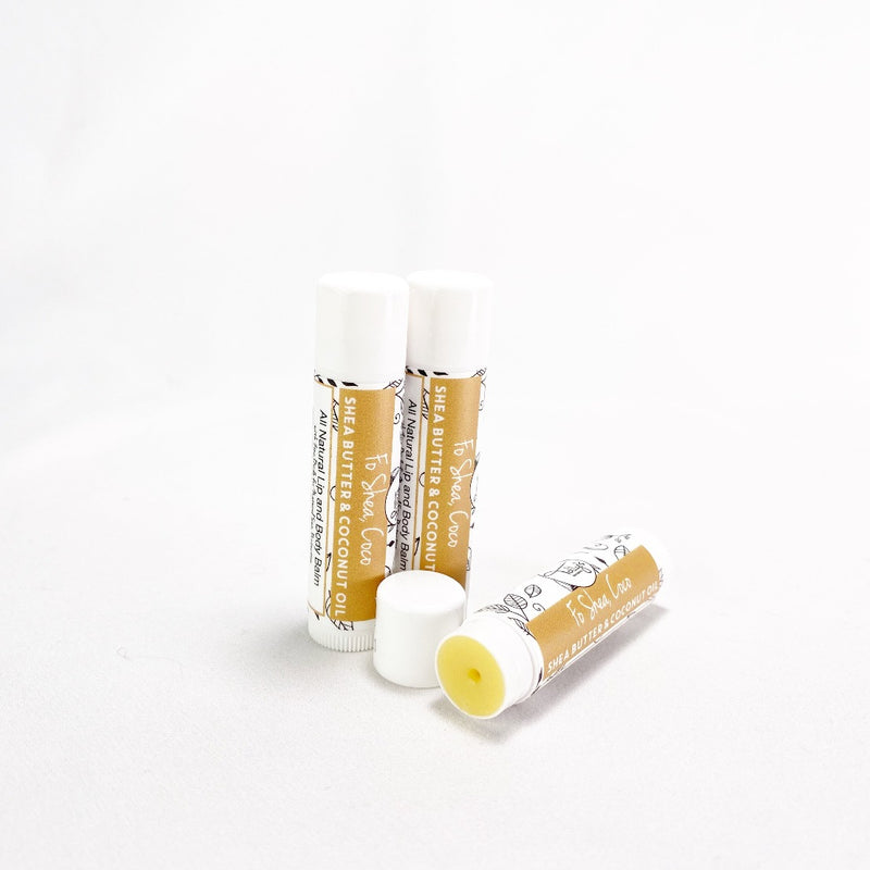 Fo Shea, Coco - Shea Butter & Coconut Oil Lip Balm - uncapped to show the balm