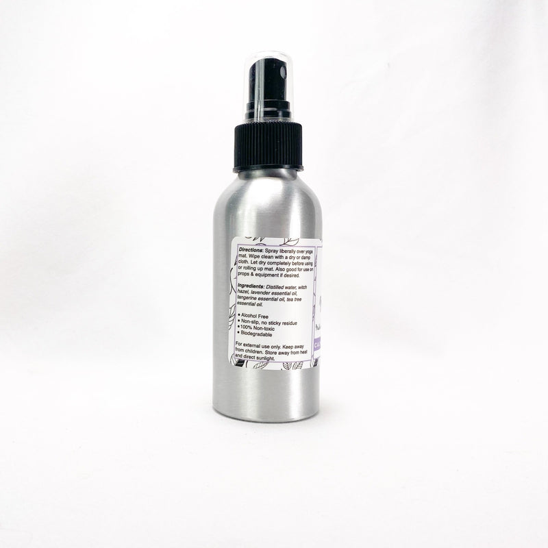 Yoga Mat Spray product label left side with directions and ingredients