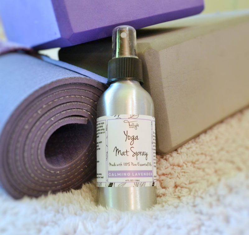 Yoga Mat Spray made of calming lavender - displayed on yoga mat and yoga block