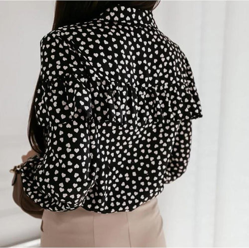 Black Polka Heart Blouse