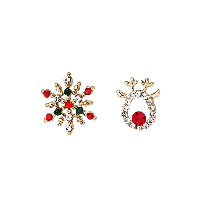 Snow Flake Crystal Deer Stud Earrings