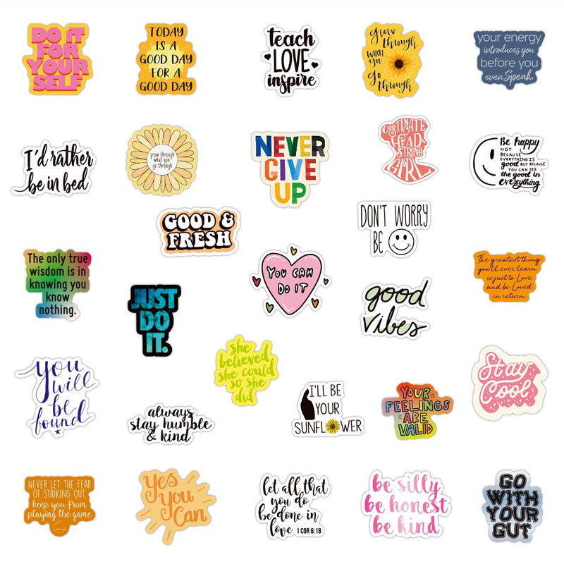 Motivational Quotes Sticker Collection (50/100 pieces)