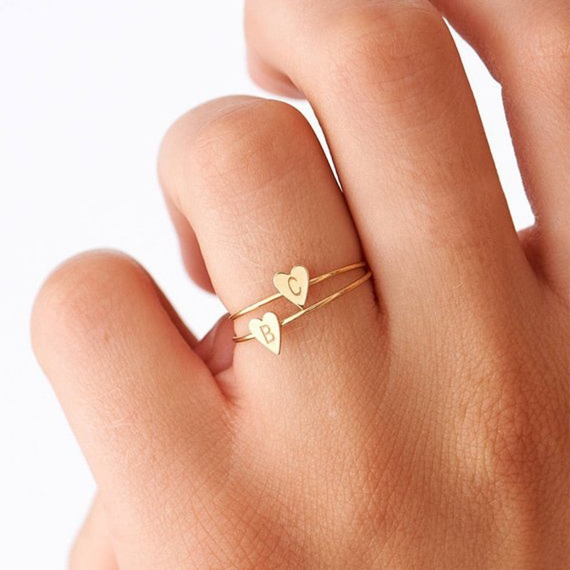 Hand Stamped Tiny Heart Ring