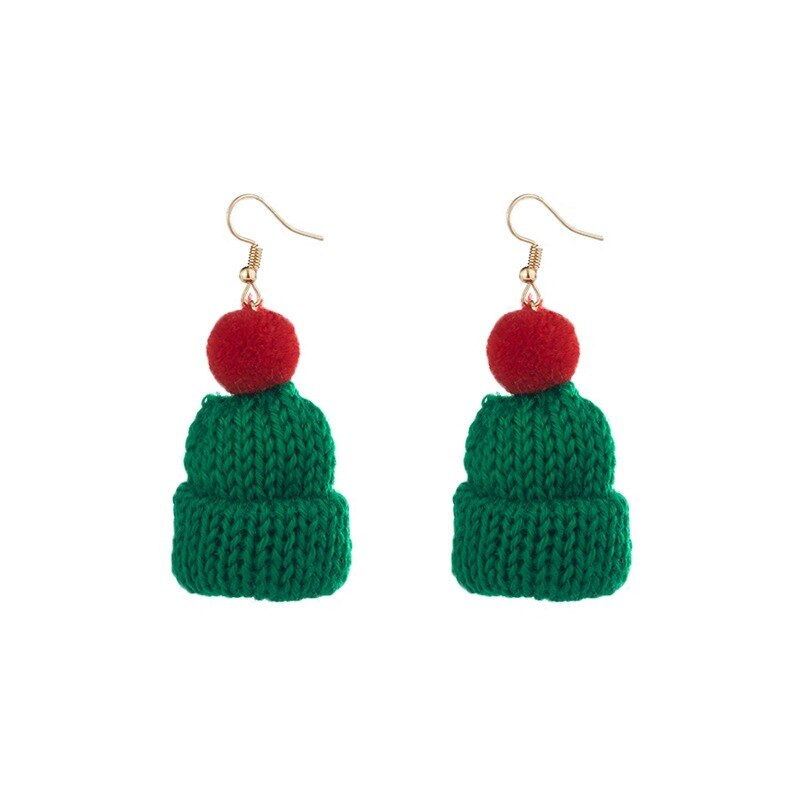 Handmade Braided Knitted Beanie Earrings
