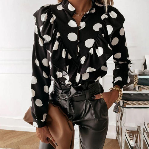 Ruffled Black Polka Dot Blouse