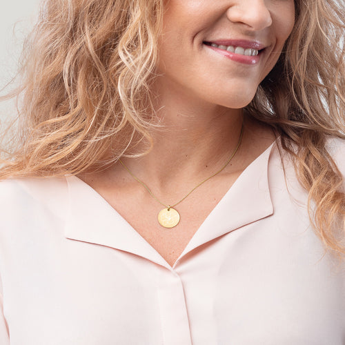 Hibiscus Gold Disc Necklace