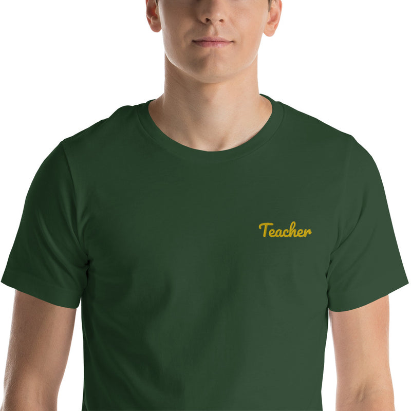 """Teacher"" Embroidered Premium T-Shirt"