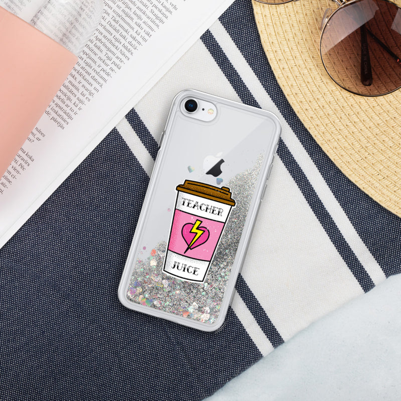 Teacher Juice Liquid Glitter Phone Case
