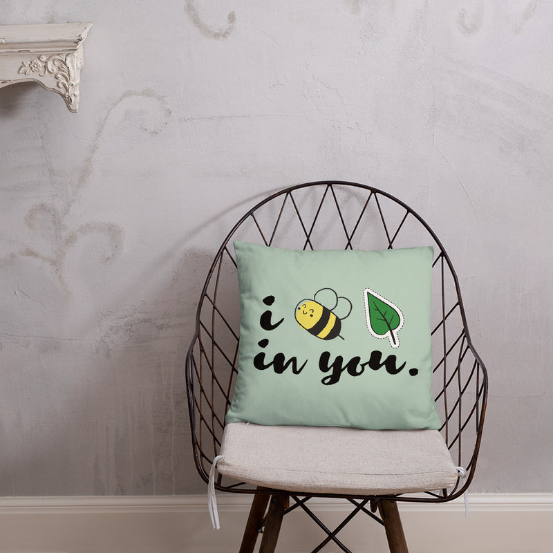 "Bee Leaf 18"" x 18"" Throw Pillow"