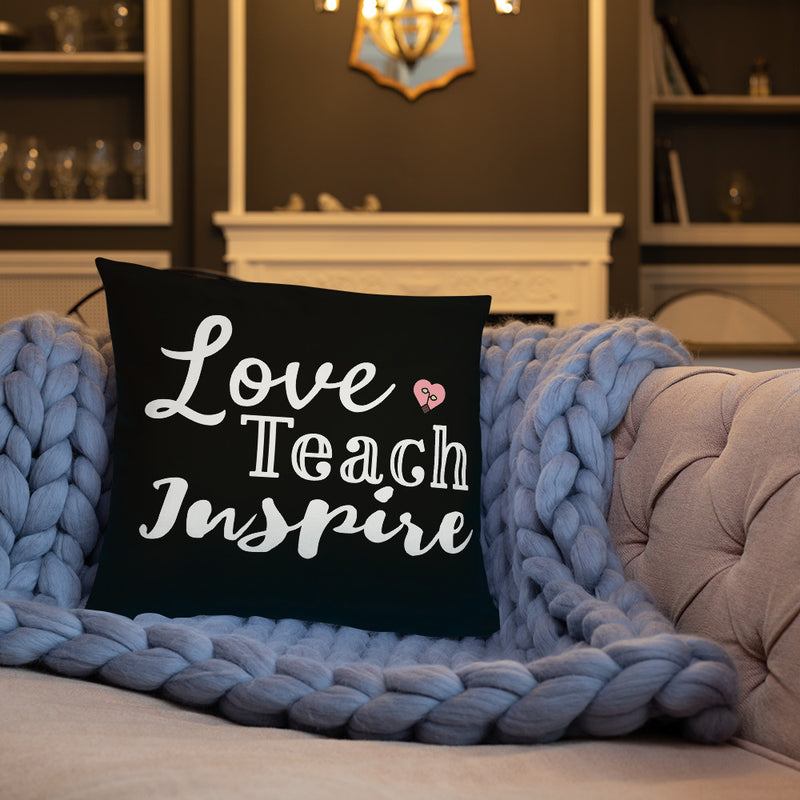 "Love Teach Inspire 18"" x 18"" Throw Pillow"