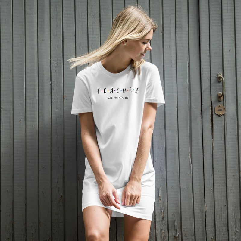 Friends-inspired Organic Cotton White T-Shirt Dress