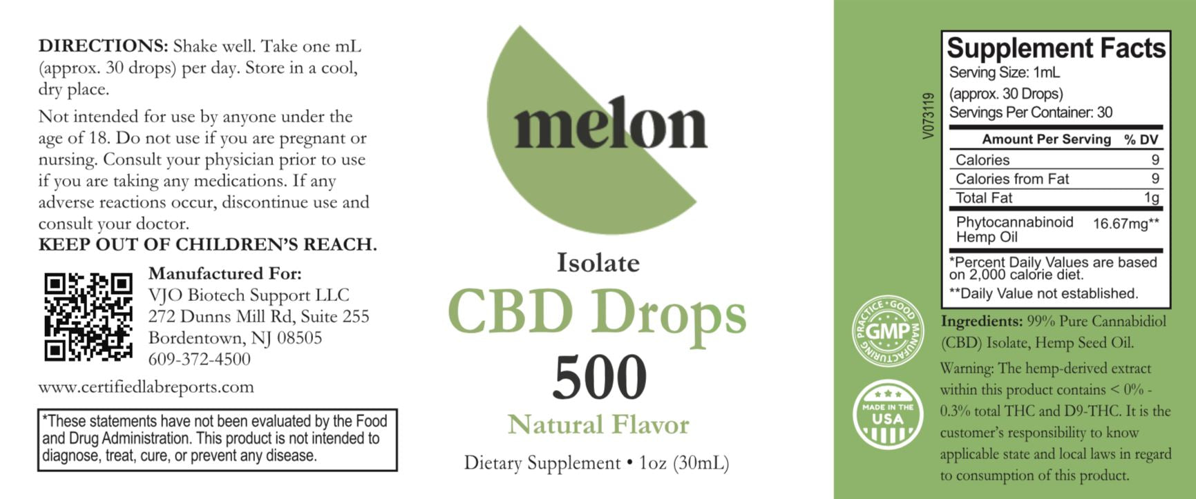 CBD Oil 500mg MelonHemp
