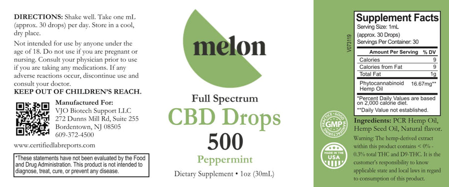 Full Spectrum CBD Oil 500mg (Mint) MelonHemp