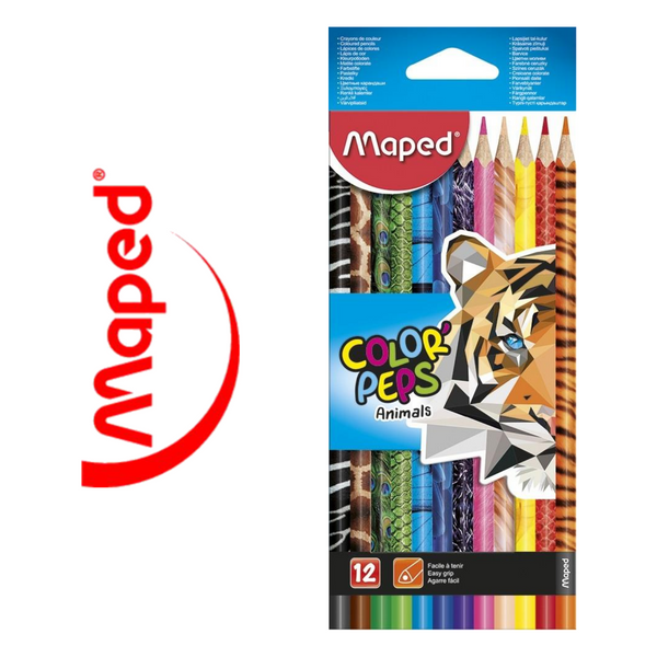 LÁPIZ DE COLOR MAPED COLOR'PEPS ANIMALS - PACK 12 UNIDADES - Papereria Rocher