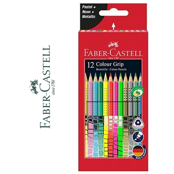 LÁPIZ DE COLOR FABER-CASTELL COLOUR GRIP - PACK 12 UNIDADES - Papereria Rocher