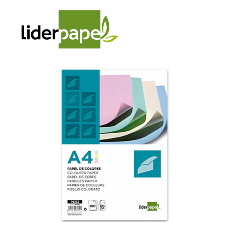 PAPEL DE COLOR LIDERPAPEL - A4 - 80g - 4 COLORES - Papereria Rocher