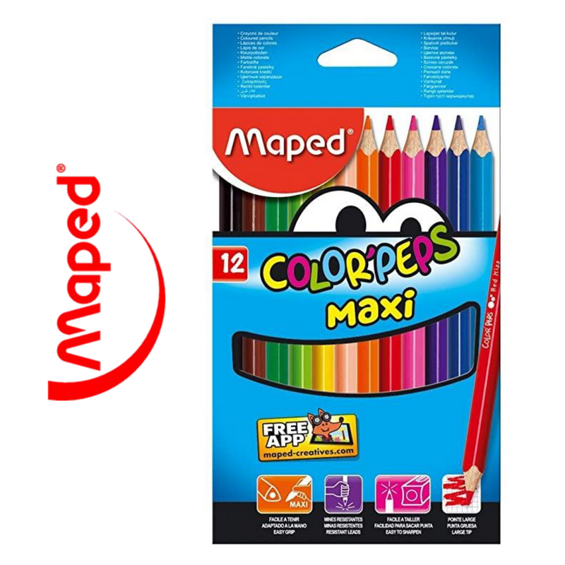 LÁPIZ DE COLOR MAPED COLOR'PEPS MAXI - PACK DE 12 UNIDADES - Papereria Rocher