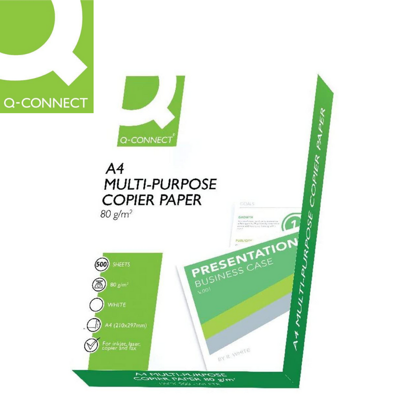 PAPEL MULTIUSOS Q-CONNECT - 500 HOJAS - A4 - 80g/m² - Papereria Rocher